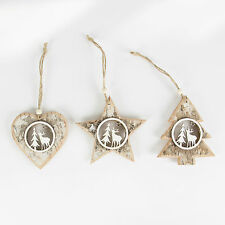 Set 3 Winter Forest Lodge Wood Star, Heart & Tree Christmas Decoration Rustic
