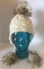 Cable Knit Cream White W Faux Fur Pom Pom Lined  Kid Girl Winter Toque Bonnet