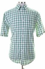 Tommy Hilfiger Mens Shirt Large Green Check Cotton