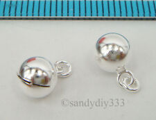 4x STERLING SILVER SWEET SOUND JINGLE BELL DANGLE BALL CHARM PENDANT 6mm #2039