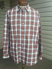 Vintage 90s DKNY Red Tartan Plaid L/S Button Front Shirt Mens L /XXL Extra Large
