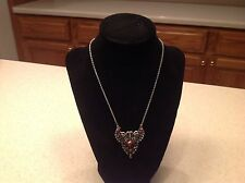 Fashion Necklace Jewelry Silver one W/ Buterfly Accent Shaped Pendant Red Accent