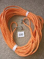 100FT OF NEW 8MM ROPE. ORANGE ANCHOR BOAT MOORING WITH SNAP HOOK  d shackle m