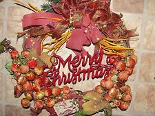 Tuscan Holiday Vintage Velvet Grapevine 14 inch Wreath Country Merry Christmas