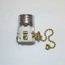 PORCELAIN PULL CHAIN SOCKET INTERIOR SWITCH WITH BRASS CHAIN NEW 30880K