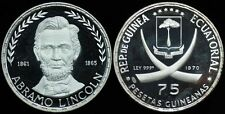 1970 Equatorial Guinea Large Silver Proof 75 Pesetas-Lincoln