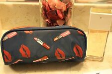 Hautelook Lip Beauty Blue Cosmetic Travel Bag, Case, Great Size!