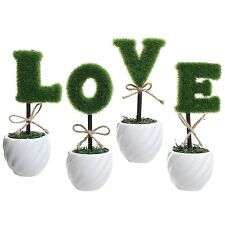 Set 4 Artificial FAKE Tree LOVE Decorative Gift Garden Indoor/Outdoor Plant Pot