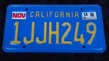 Vintage Blue California Licence Plate November 1985 IJJH249