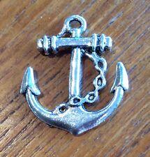2x Sailor Anchor Rockabily Silver Coloured Craft Charms