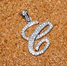 """925 Sterling Silver CZ Letter Initial """"C"""" Pendant Necklace"""