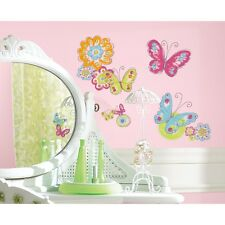 BUTTERFLIES 26 Wall Decals Blue Pink Green Room Decor Butterfly Flowers Stickers