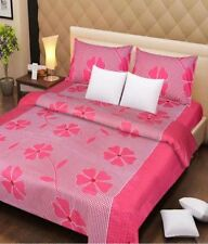 DreamDecor Polycotton Double Bed Sheets With 2 Pillow Covers -  Pink  Patch
