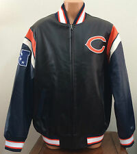 Mens Large L NFL Chicago Bears Full Zip Leather-Look Varsity Jacket Coat Blue