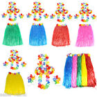 Hawaiian Grass Skirt Flower Hula Lei Garland Fancy Dress Costume 6 Piece Set