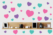 Pastel Hearts 30 Pack Wall Art Stickers Pink Purple Turquoise Decal Love Mural