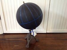 Antique Untitled globe, England 1870 on very rare iron cast stand with monogram