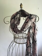 "Ladies Black Pink Blue Snake Skin Print Light Weight Scarf Measures 37"" X 72"""