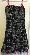 NWT Steppin' Out Junior Black White Flower Embroidered Party Dress Size L