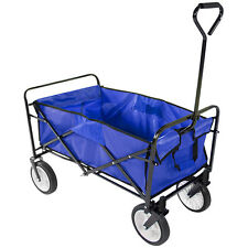 Blue Collapsible Folding Wagon Utility Garden Cart Shopping Beach Toy Sports Top