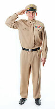 Mens WW2 Army General Costume Fancy Dress Outfit Adult Miltary Soldier
