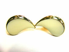 CREAM ENAMEL CURVED GOLD PLATED CLIP ON EARRINGS FREE UK POST! GC9