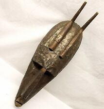 Vtg Wood African Marka Mask Large Tribal Tin Embossed Horns Mali Bamana Kore