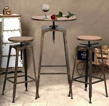 Indoor Bistro Set Table and Chairs Bar Height Dining Stools Industrial Vintage