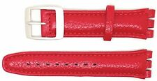 New 19mm (22mm) Sized Replacement Leather Strap Compatible for Swatch® Watch Red