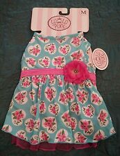 "NWT LULU PINK Dog Dress Turquoise Pink Floral Costume Size Medium 14"" - 18"" NEW"