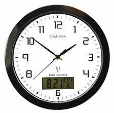 Champion Radio Controlled MSF LCD Day Date Quartz Wall Clock Black 250mm WDL1RC
