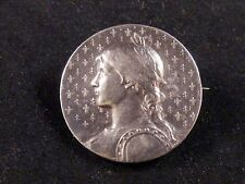Gorgeous huge French sterling silver medal brooch portrait of Joan of Arc signed