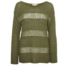 Michael Kors Pullover Flat Tape Yarn Long Sleeve Sweater In Khaki NEU / NEW XS