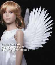 FashionWings Children's White costume feather angel wings pointing up or down