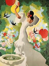 PAINTING SPAIN FLAMENCO BIRD SWALLOW FLORAL COLOURFUL ART POSTER PRINT LV2875