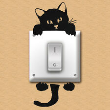 5cps Cute Cartoon Cat Light Switch Sticker Wall Decal Home Decoration Removable