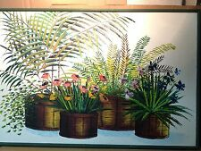 "Vintage Vibrant Oil Painting with Plants & Flowers Palette knife 25""x36"""