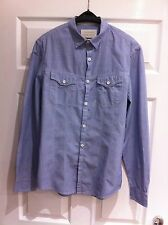 Mens River Island Light Blue Long Sleeve Denim Style Shirt Size Small