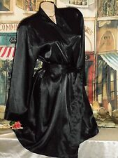 USA M Black Glossy Satin Kimono Robe Long Sleeve