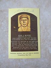 Edd Roush Double Signed 1956 Artvue HOF Plaque Card Type 2 PSA Guaranteed