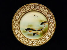 EXQUISITE & RARE SIGNED NIPPON GILT & HAND PAINTED FISH PLATE - CIRCA 1900
