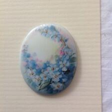 Hand Painted blue Pastel Flowers Porcelain Antique Victorian