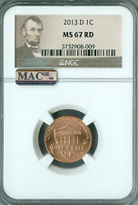 2013-D LINCOLN CENT SHIELD NGC MAC MS67 RED PQ 2ND FINEST REGISTRY SPOTLESS *