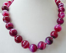 8mm round Natural Striped agate gemstone necklace 18 '' AAA++