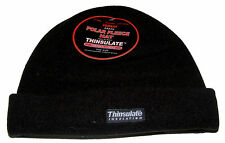 MENS BLACK POLAR FLEECE BEANIE HAT WITH THINSULATE INSULATION + THERMAL LINING