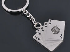 HJ022 HJ Poker Keyring Creative Playing Card Keychain Polished Chrome 3D Gift