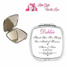 Personalised Maid of Honour Compact Mirror Wedding Favour Thank You Gift