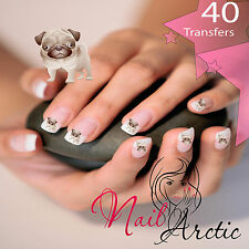 Christmas Nail Wraps Water Transfers Decal Art Stickers 40 x transfers Pugs
