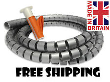 CABLE TIDY KIT PC TV WIRE ORGANISING WRAP TOOL SPIRAL OFFICE HOME 2m Silver/GREY