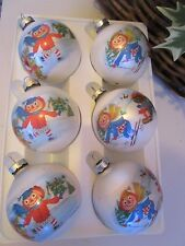 VINTAGE 1973 CORNING GLASS RAGGEDY ANN&ANDY 6 BOBBS-MERRILL CHRISTMAS ORNAMENTS